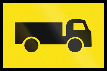 temporary: An Australian temporary additional road sign - Lorries Stock Photo