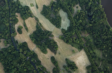 뜨거운 공기 풍선에서 독일의 도시 마그데 부르크의 전망. 엘베 강 Rotehorn 공원을 볼 수 있습니다.