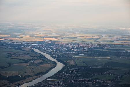 image created 21st century: Far View of the German town Schoenebeck from the north.
