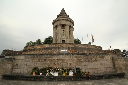 fraternity: Wide angle shot of the Burschenschaftsdenkmal (lit. fraternity monument) in Eisenach, Thuringia, Germany. The monument was completed in 1902 and is a symbol for the unification of Germany. Fraternities laid down wreathes for commemoration of their members