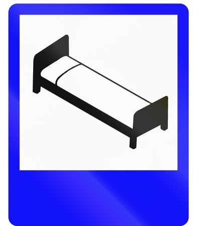 overnight stay: An Indonesian road sign - Hotel or motel Stock Photo