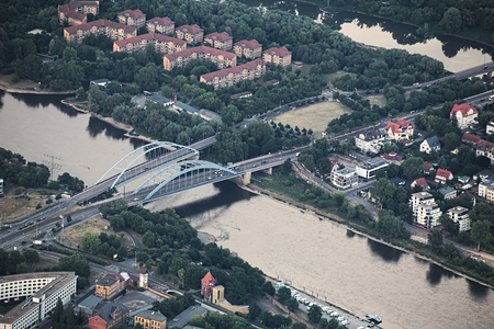 image created 21st century: View of the German city Magdeburg from a hot air balloon. The two Jerusalembruecken (lit. Jerusalem bridges) over the elbe river can be seen.