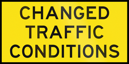 road conditions: An Australian temporary road sign - Changed traffic conditions Stock Photo