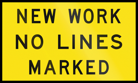 no lines: An Australian temporary road sign - New work no lines marked Stock Photo