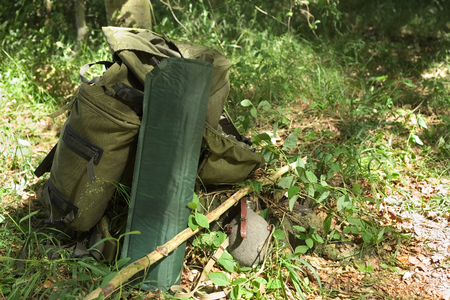 sleeping pad: Backpack, camping mat and canteen in a forest.