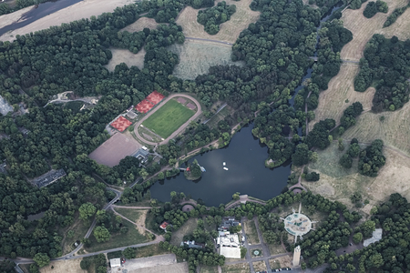 image created 21st century: View of the German city Magdeburg from a hot air balloon. Rotehorn Park can be seen.