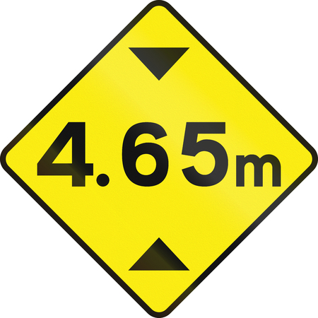 restriction: Warning road sign in Ireland: Height restriction ahead in meters