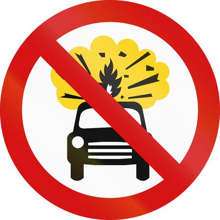 thoroughfare: Irish traffic sign prohibiting thoroughfare of motor vehicles carrying flammable goods. Stock Photo