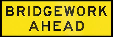 bridgework: An Australian temporary road sign - Bridgework ahead Stock Photo