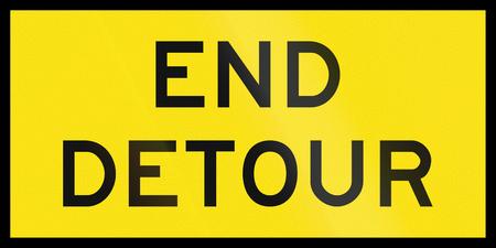 detour: An Australian temporary road sign - End detour