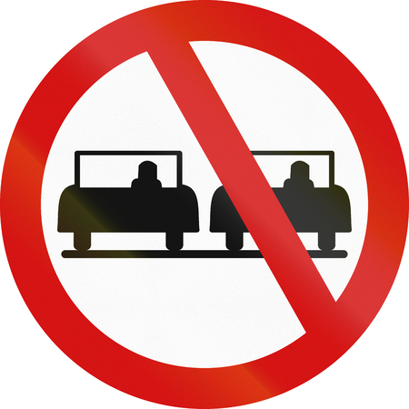 overtaking: An official Ireland traffic sign: No overtaking! Stock Photo