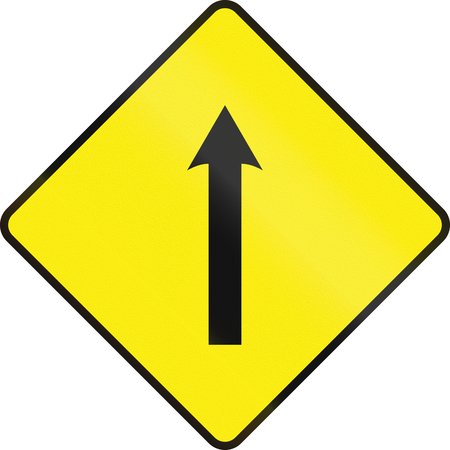 one lane road sign: An Irish road sign - Single lane area ahead