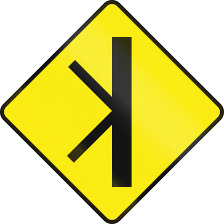 routing: Irish road warning sign - Double 45 degree Intersection ahead
