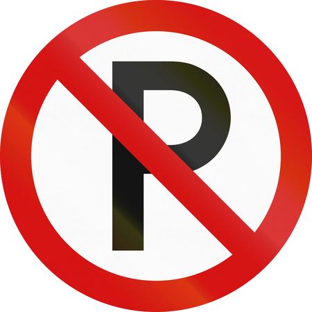 carriageway: Irish traffic sign: No parking along carriageway. Stock Photo