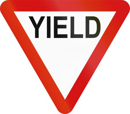 Irish traffic sign: Yield sign - Version in English