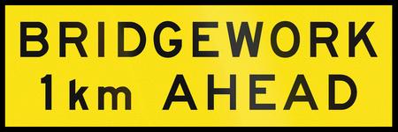 bridgework: An Australian temporary road sign - Bridgework 1 km ahead Stock Photo