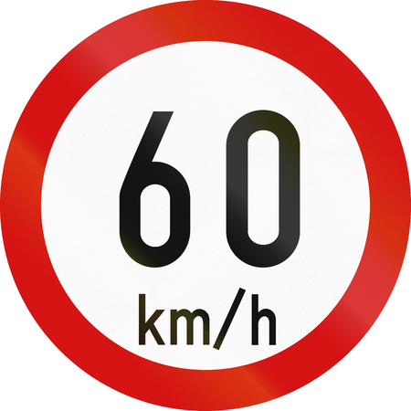 restricting: Irish traffic sign restricting speed to 60 kilometers per hour.