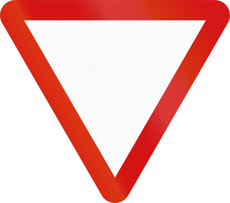 yield sign: Irish traffic sign: Yield sign - Version without text
