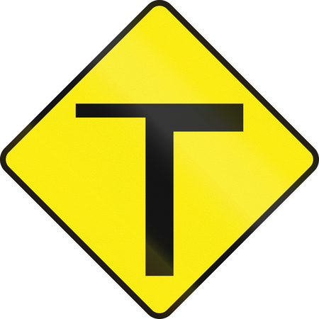 routing: Irish road warning sign - T-Intersection ahead Stock Photo