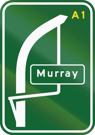 multiple images: Australian directional sign with the bypassed town Murray.
