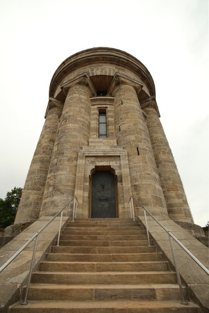 distorted image: Wide angle shot of the Burschenschaftsdenkmal (lit. fraternity monument) in Eisenach, Thuringia, Germany. The monument was completed in 1902 and is a symbol for the unification of Germany.