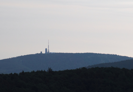 image created 21st century: Far view on the Grosser Inselsberg in the Thuringian Forest in Germany.