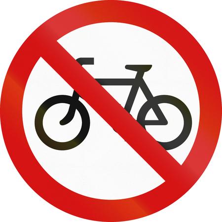thoroughfare: Ireland traffic sign prohibiting thoroughfare of bicyles.