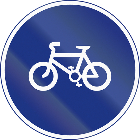 bicycle lane: An Irish sign for a bicycle lane. Stock Photo