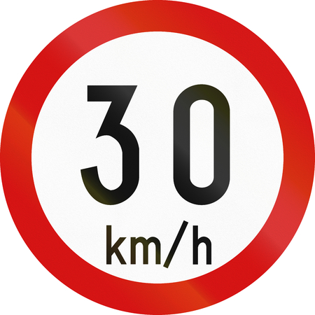 restricting: Irish traffic sign restricting speed to 30 kilometers per hour.