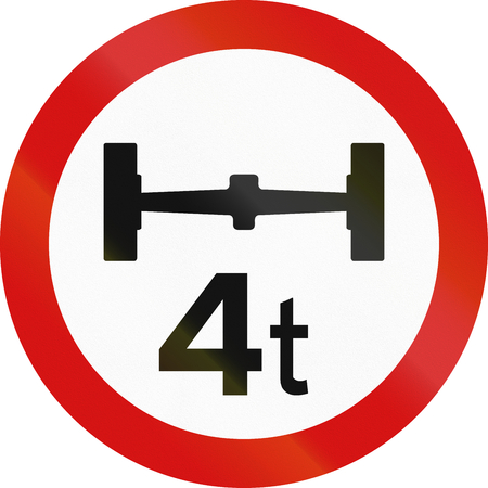 axle: Irish traffic sign prohibiting throroughfare of vehicles with a load over 4 tons on each axle.