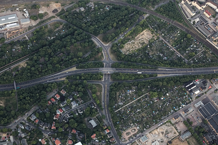 image created 21st century: Aerial View of a highway intersection in the German city Magdeburg.