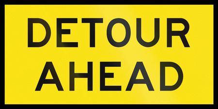 detour: An Australian temporary road sign - Detour ahead