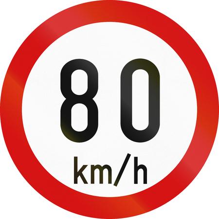 restricting: Irish traffic sign restricting speed to 80 kilometers per hour. Stock Photo