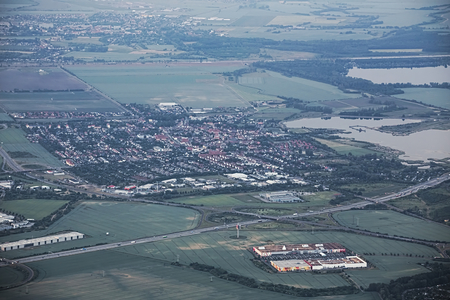 image created 21st century: View of the German town Barleben, north of Magdeburg.