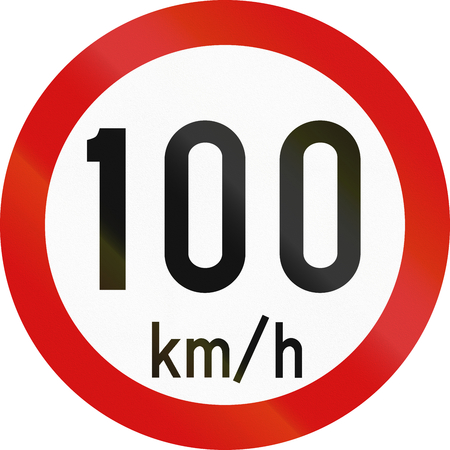 restricting: Irish traffic sign restricting speed to 100 kilometers per hour.