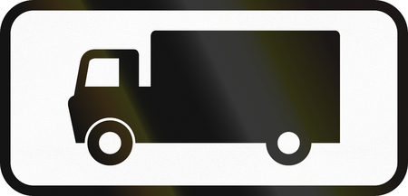 specify: Bangladeshi traffic sign additional panel to specify the meaning of other signs: Goods vehicles Stock Photo