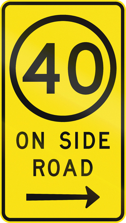 side of the road: An Australian road sign used in Victoria - Speed limit 40 kmh on side road Stock Photo