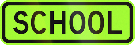 lurid: An Australian warning traffic sign - School, green version Stock Photo