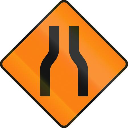 Irish temporary road warning sign: One lane roadnarrow road ahead