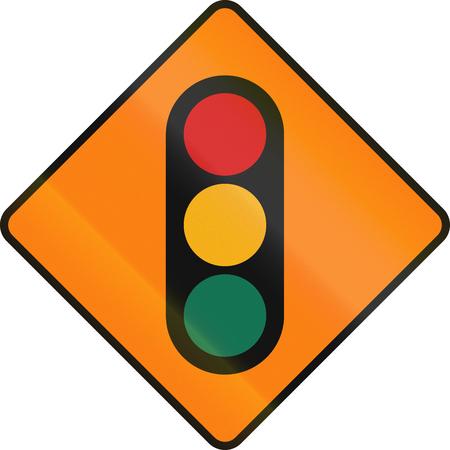 temporary: Irish temporary road warning sign: Traffic lights ahead Stock Photo