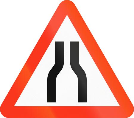 narrowing: Bangladeshi sign indicating narrowing of the road. Stock Photo