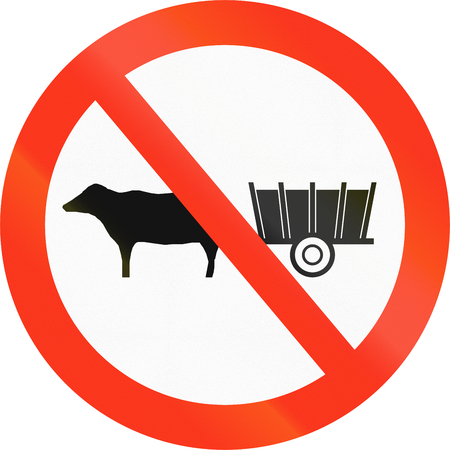 thoroughfare: Bangladeshi sign prohibiting the thoroughfare of carriages. Stock Photo