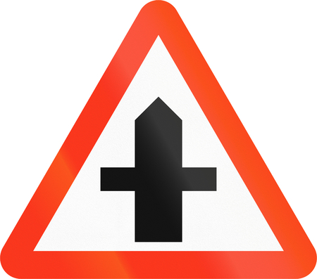 right handed: Bangladesh danger warning sign: Intersection with priority Stock Photo