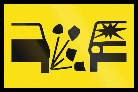 roadwork: An Australian temporary roadwork sign: Loose gravel Stock Photo