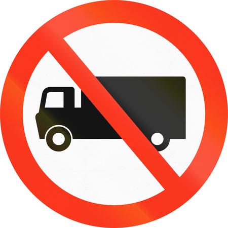 thoroughfare: Bangladeshi traffic sign prohibiting thoroughfare of lorries.