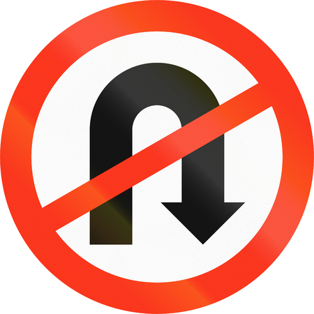 red handed: An Bangladeshi regulatory sign - no U-turn.