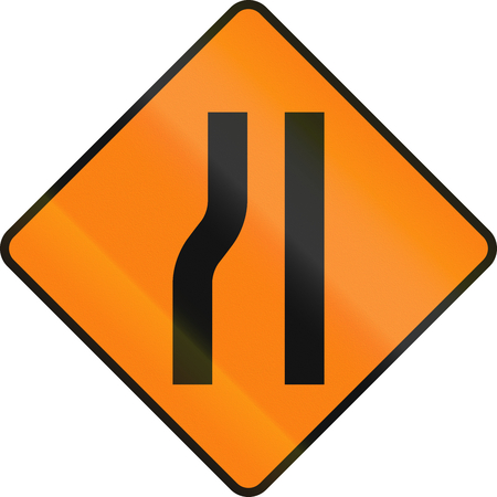 one lane road sign: Irish temporary road warning sign: Road narrows on the left