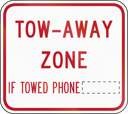 phone number: Australian road sign - Tow-Away Zone, with copy space for phone number