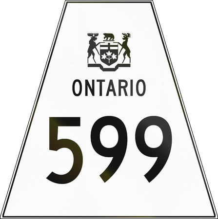 road sign highway sign: Canadian highway shield of Ontario highway number 599. Stock Photo