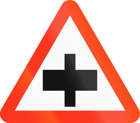 left handed: Bangladesh danger warning sign: Intersection with priority Stock Photo